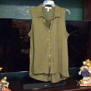 French Laundry Olive Green Gold Fleck Blouse